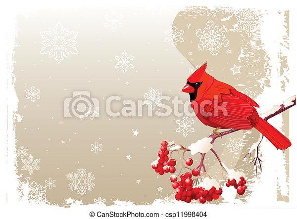 Vektor Clipart av röd, kardinal, fågel, bakgrund - röd ...