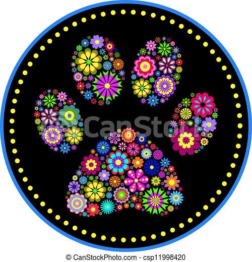 floral animal paw print - csp11998420