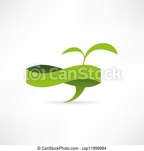 Green eco banner. Bubble for speech - csp11999984