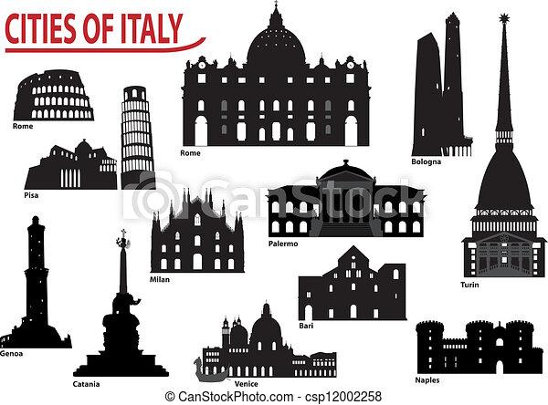 Silhouettes of Italian cities - csp12002258