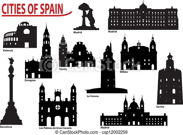 Silhouettes of cities in Spain - csp12002259