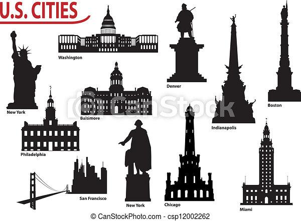 Silhouettes of U.S. cities - csp12002262