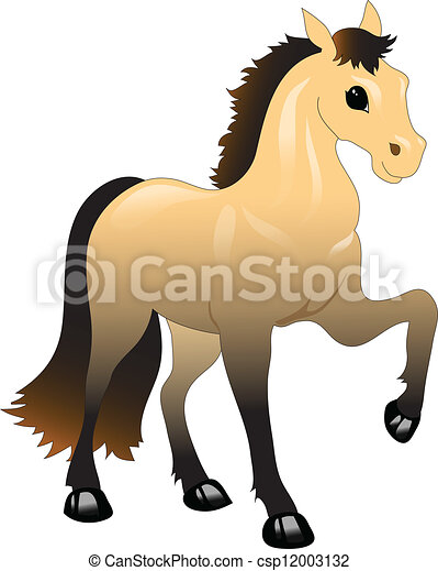 brown horse with a black mane - csp12003132