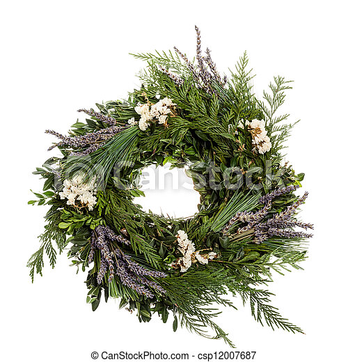 Holiday wreath with lavender - csp12007687
