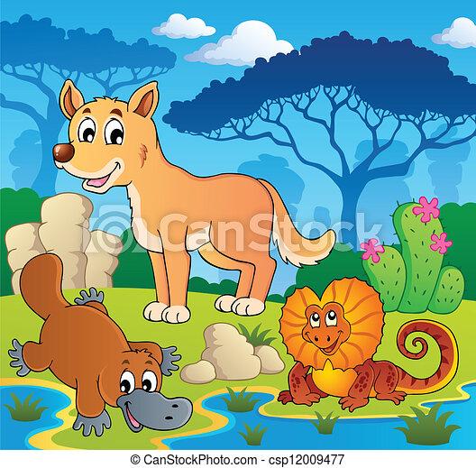 Australian animals theme 2 - csp12009477