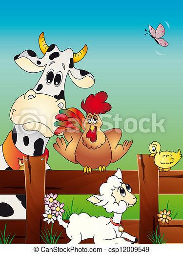 animal farm cartoon - csp12009549