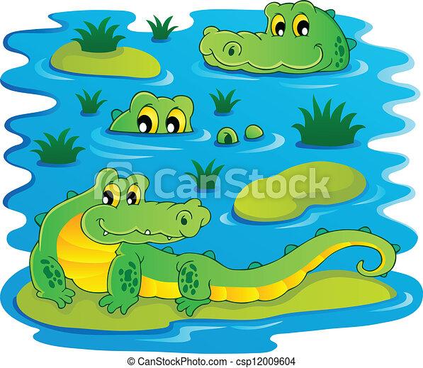 Alligators in Water Clip Art