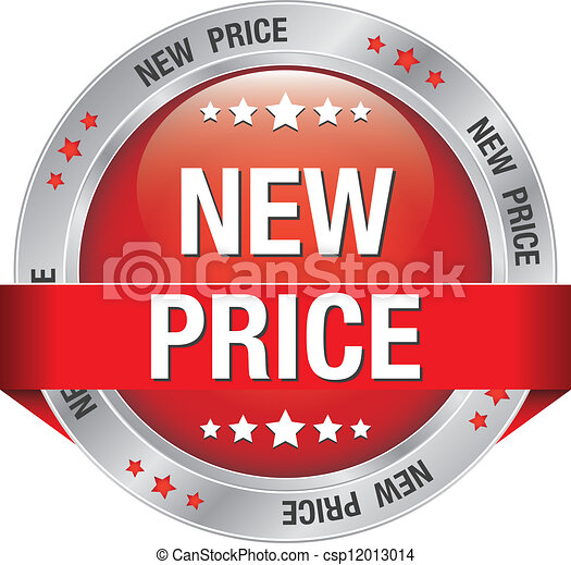 Vector Clip Art of new price red silver button isolated background ...