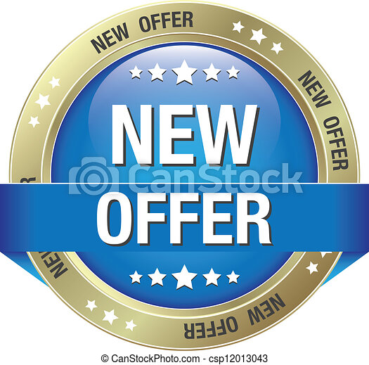EPS Vector of new offer blue gold button isolated background ...