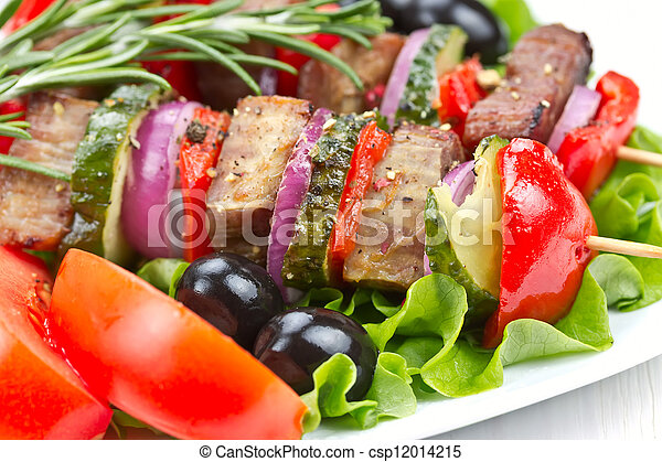Barbecue meat on skewers with vegetables - csp12014215