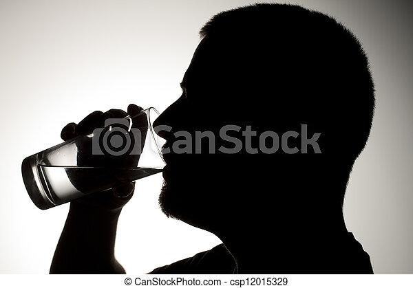 man drinking water - csp12015329