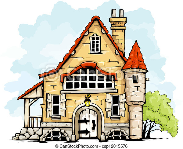 Easy Old House Drawing Vector Fairytale Old House
