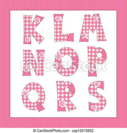 Pink fabric alphabet. Letters K, L, M, N, O, P, Q, R, S - csp12015652