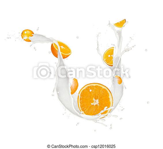 Oranges in milk splash, isolated on white background - csp12016025