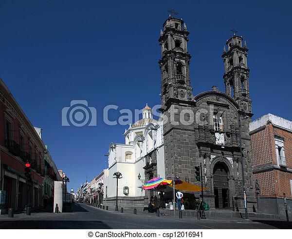 Church of San Cristobal in Puebla, Mexico - csp12016941