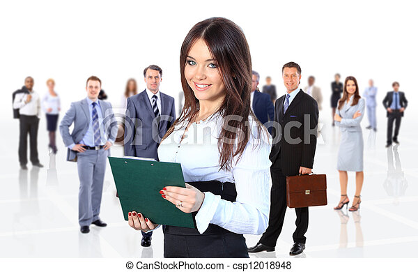 business woman leading her team isolated over a white background - csp12018948