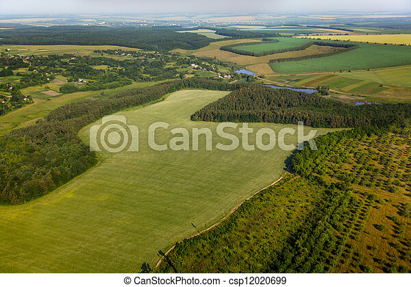 aerial view above the green fields - csp12020699