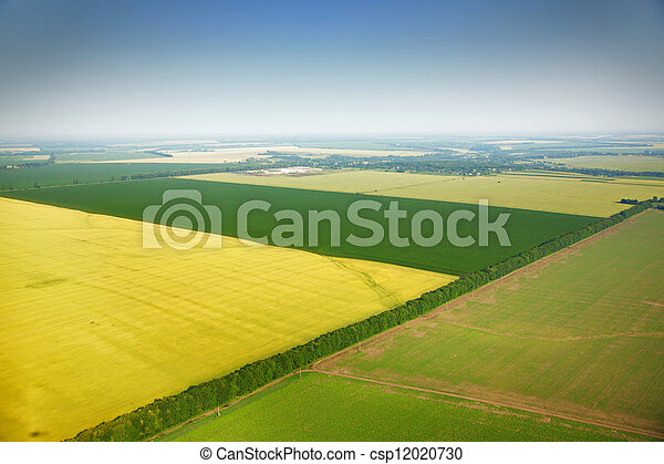 Aerial view of colza fields near the village - csp12020730