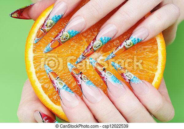 nail art close-up - csp12022539