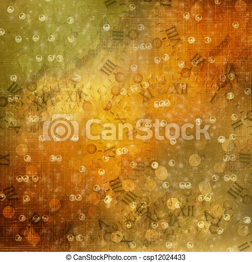 Abstract ancient background in scrapbooking style with gold ornamentat - csp12024433