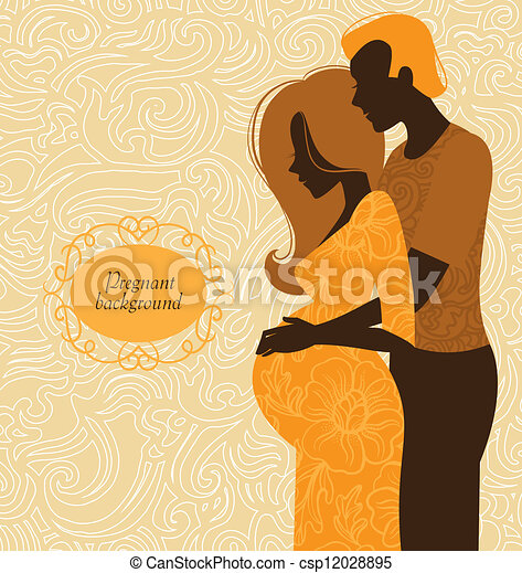 Silhouette of couple. Background of pregnant woman and her husband - csp12028895