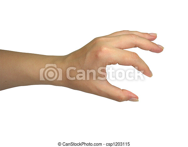Human lady hand holding your object isolated over white - csp1203115