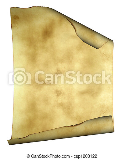 Old paper background parchment with curled burned edges and space for text or image - csp1203122