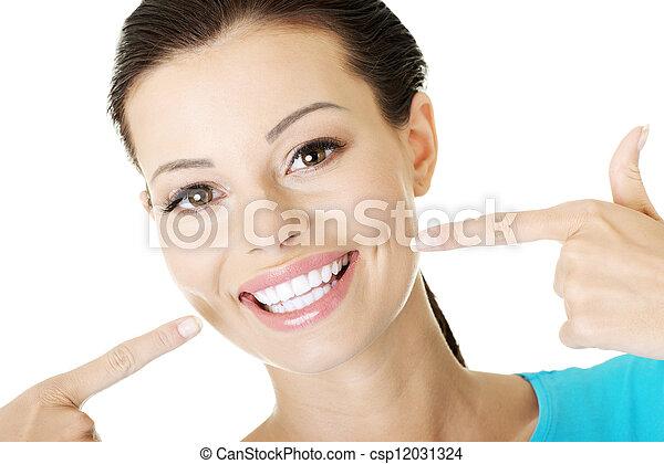 完美, 顯示, 婦女, 她, teeth. - csp12031324