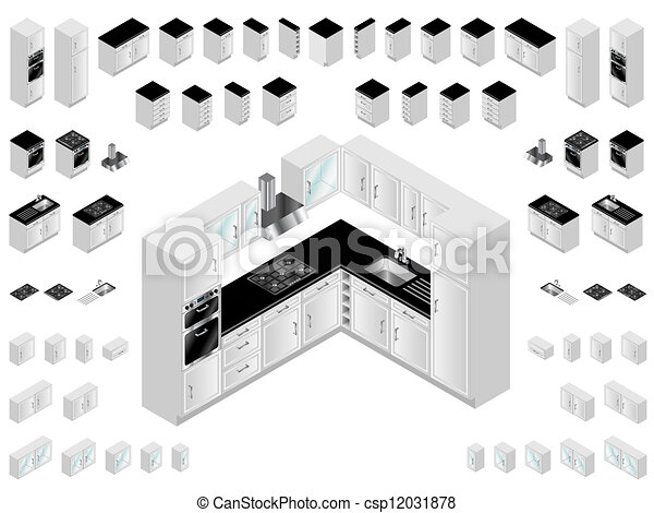 Vectors illustration of kitchen design elements kitchen for Kitchen design vector