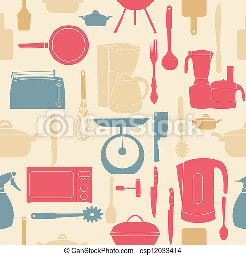 vector illustration seamless pattern of kitchen tools for cooking - csp12033414