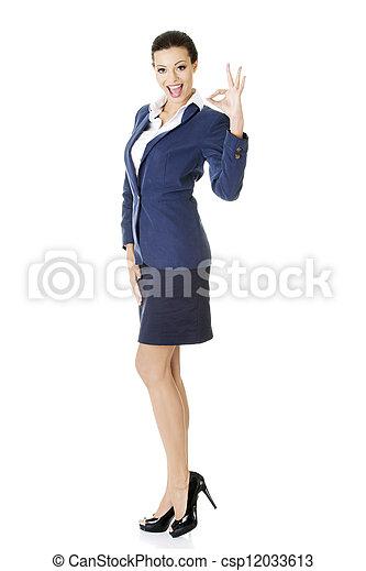 完美, 婦女, 很好, 事務, 顯示, -, 手, 徵候。 - csp12033613
