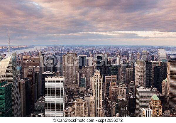 New York City -  Manhattan skyline aerial view at sunset - csp12036272