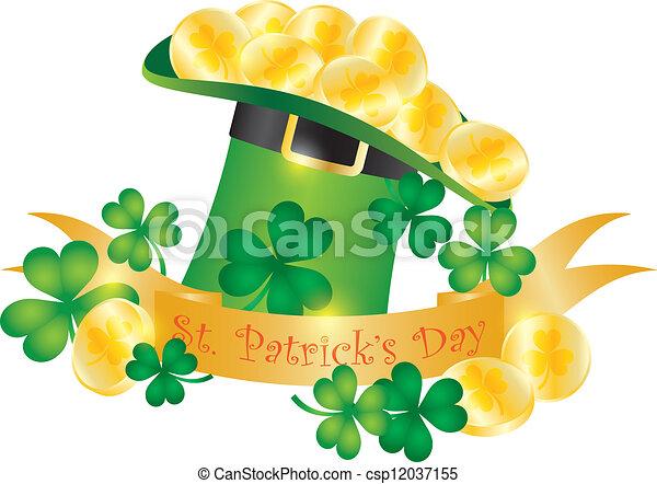 St Patricks Day Hat Banner Gold Coins Illustration - csp12037155