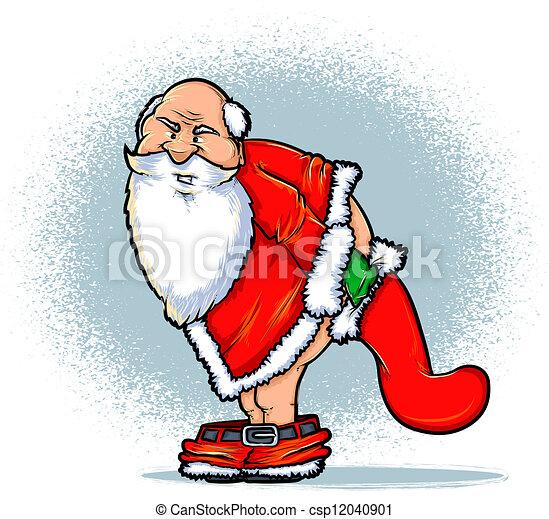 Vector Clipart of Santa and the Naughty List Cartoon - Santa Claus ...