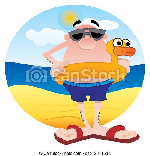 Vector De Turista Playa Hombre Playa Lifesaver