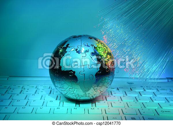 concepto, óptico, globo, fibra, contra, computadora, plano de fondo, tierra, datos - csp12041770