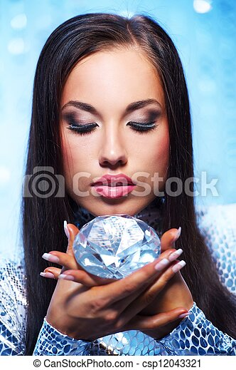 Beautiful woman with a diamond - csp12043321