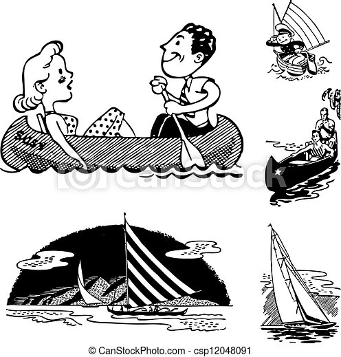 Vector Retro Vacation and Boating Graphics - csp12048091