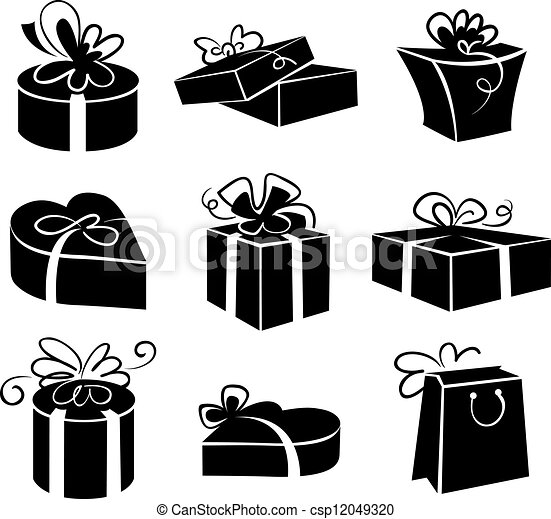 Set of gift boxes icons, black and white illustrations - csp12049320