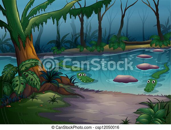 Clip art vecteur de crocodiles rivi re illustration de crocodiles dans a csp12050016 - Dessin anime de crocodile ...
