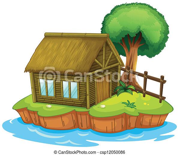 Vetor De Um Casa Rvore Ilha Ilustra O Casa Rvore