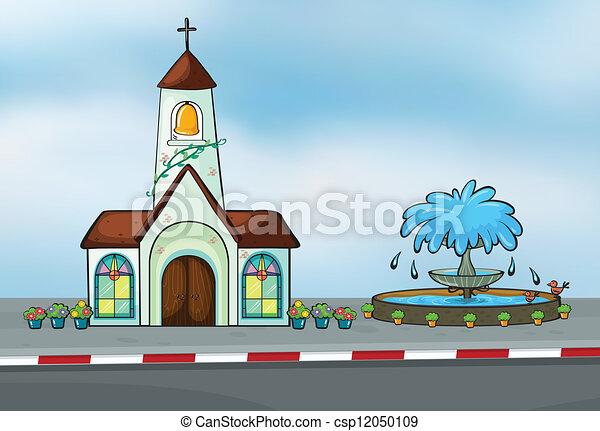 A church and a fountain - csp12050109