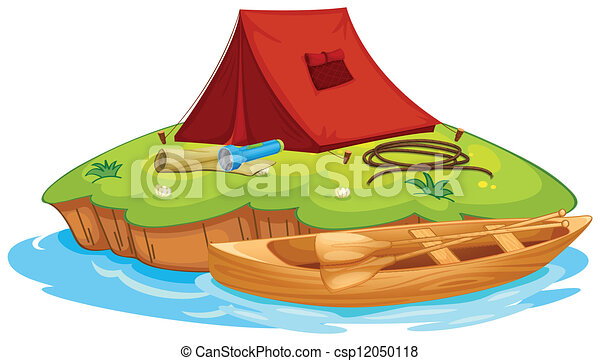 vaious objects for camping and a canoe - csp12050118