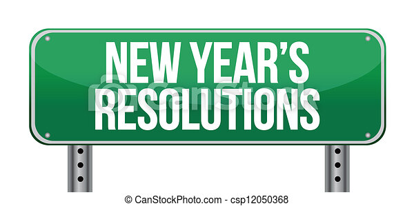 sign announcing 'New Year's Resolutions' - csp12050368