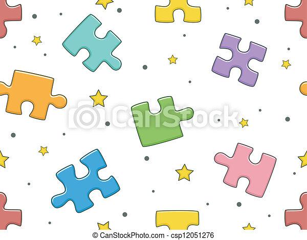 Puzzle pieces background eps clip art instant download - Puzzles decorativos ...