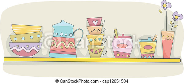 Vector Clipart Of Kitchen Shelf Illustration Of A