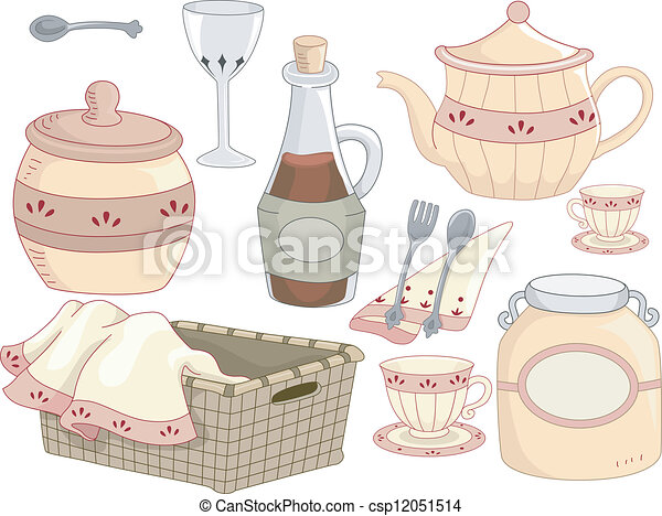 Vector Clip Art of Country Kitchen Tools - Illustration of Kitchen ...