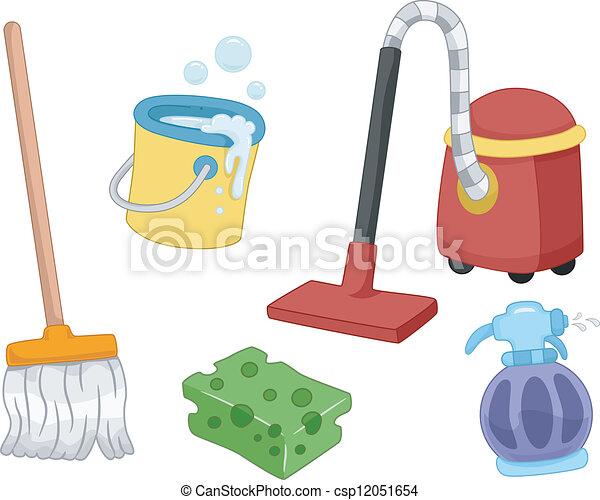 Clipart vectorial de casa herramientas limpieza - Imagenes de limpieza de casas ...