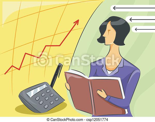 Vectors Illustration of Girl Accountant - Illustration of ...
