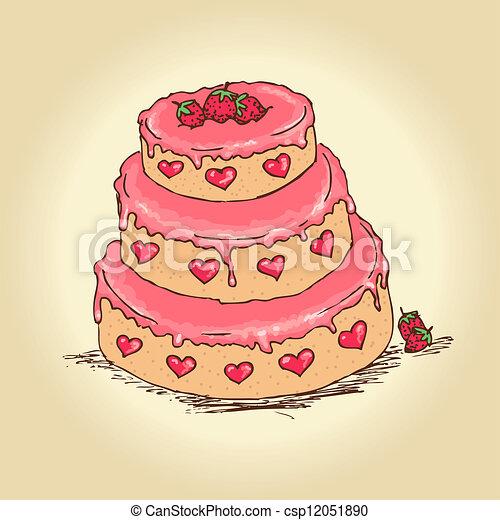 Valentine Cake Clip Art : Valentine Cake Vector - Instant Download - csp12051890